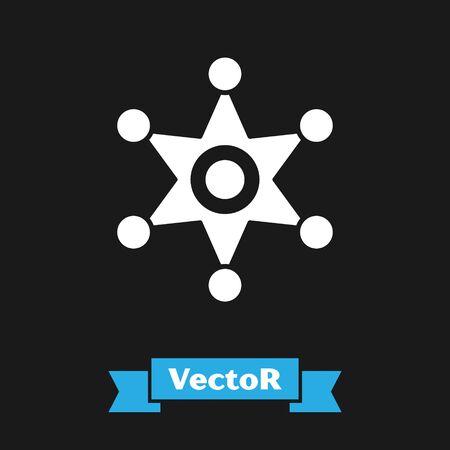White Hexagram sheriff icon isolated on black background. Police badge icon. Vector Illustration Illusztráció