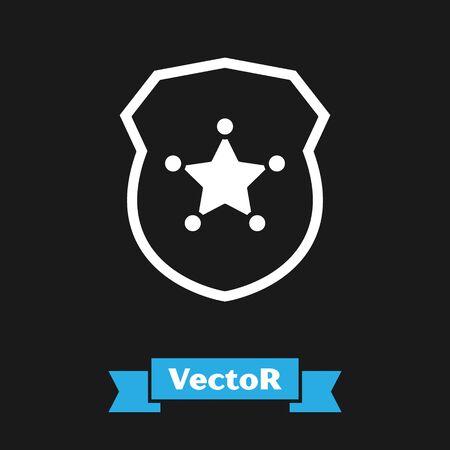 White Police badge icon isolated on black background. Sheriff badge sign. Vector Illustration