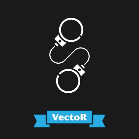 White Handcuffs icon isolated on black background. Vector Illustration Ilustração