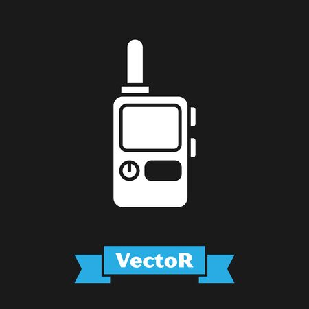 White Walkie talkie icon isolated on black background. Portable radio transmitter icon. Radio transceiver sign. Vector Illustration