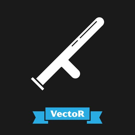 White Police rubber baton icon isolated on black background. Rubber truncheon. Police Bat. Police equipment. Vector Illustration