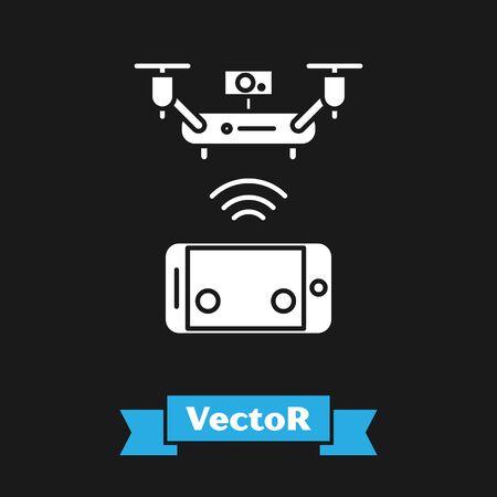 White Remote aerial drone with a camera taking photography or video recording icon isolated on black background. Vector Illustration