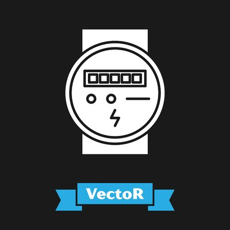 White Electric meter icon isolated on black background. Vector Illustration