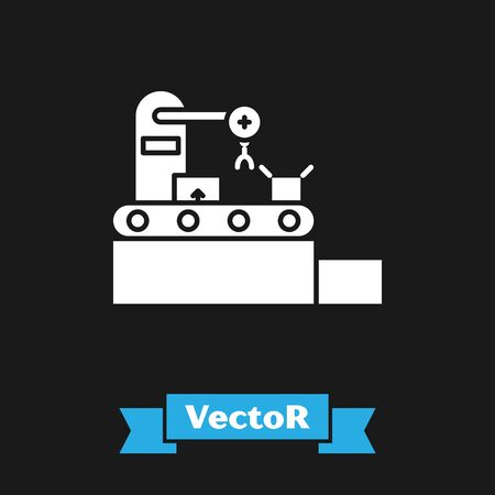 White Factory conveyor system belt with cardboard boxes engineering machine icon isolated on black background. Robot industry concept. Vector Illustration Standard-Bild - 134488619