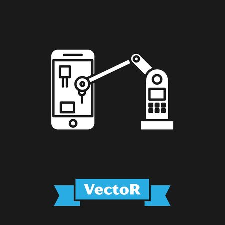 White Industrial machine robotic robot arm hand on mobile phone factory icon isolated on black background. Industrial robot manipulator. Vector Illustration Standard-Bild - 134489235