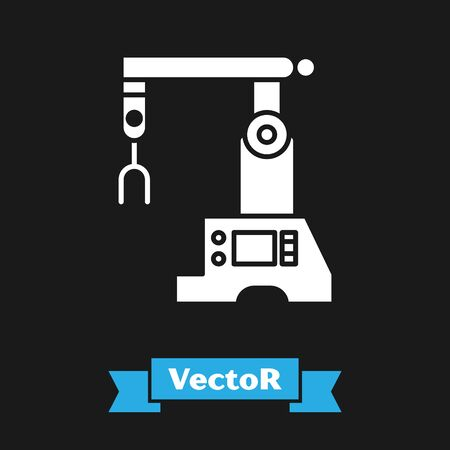 White Assembly line icon isolated on black background. Automatic production conveyor. Robotic industry concept. Vector Illustration Standard-Bild - 134489240