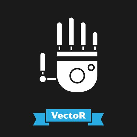 White Mechanical robot hand icon isolated on black background. Robotic arm symbol. Technological concept. Vector Illustration