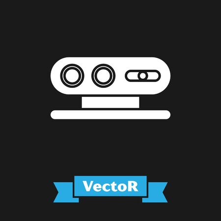 White 3d scanning system icon isolated on black background. Vector Illustration