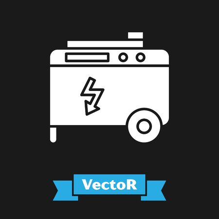 White Portable power electric generator icon isolated on black background. Industrial and home immovable power generator. Vector Illustration Vettoriali