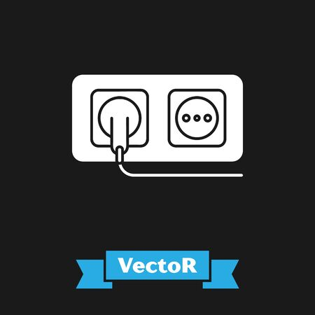 White Electrical outlet icon isolated on black background. Power socket. Rosette symbol. Vector Illustration