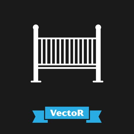 White Baby crib cradle bed icon isolated on black background. Vector Illustration Ilustracja