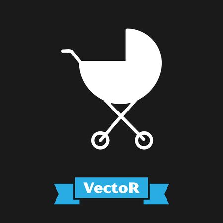 White Baby stroller icon isolated on black background. Baby carriage, buggy, pram, stroller, wheel. Vector Illustration Ilustrace