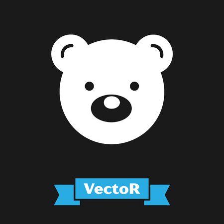 White Teddy bear plush toy icon isolated on black background. Vector Illustration