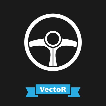 White Steering wheel icon isolated on black background. Car wheel icon. Vector Illustration Stock Vector - 134490355