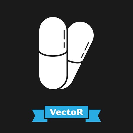 White Dog and pills icon isolated on black background. Prescription medicine for animal. Vector Illustration