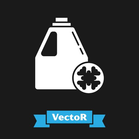 White Antifreeze canister icon isolated on black background. Auto service. Car repair. Vector Illustration