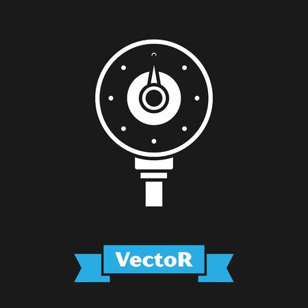 White Motor gas gauge icon isolated on black background. Empty fuel meter. Full tank indication. Vector Illustration