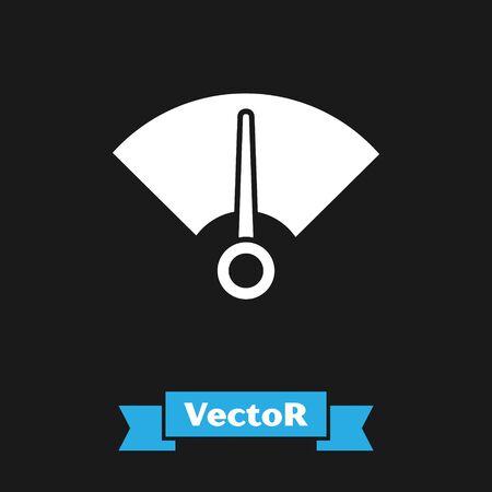White Speedometer icon isolated on black background. Vector Illustration Ilustrace