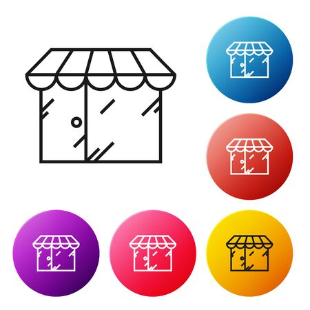 Black line Barbershop building icon isolated on white background. Set icons colorful circle buttons. Vector Illustration
