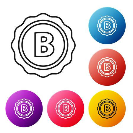 Black line Bottle cap with inscription beer icon isolated on white background. Set icons colorful circle buttons. Vector Illustration