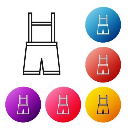 Black line Lederhosen icon isolated on white background. Traditional bavarian clothing. Oktoberfest outfit. Pants with suspenders. Patrick day. Set icons colorful circle buttons. Vector Illustration