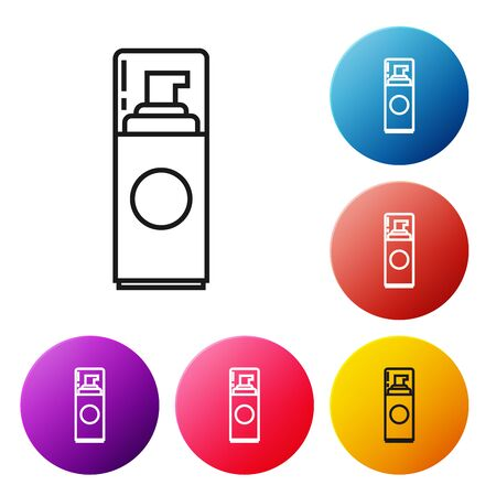 Black line Shaving gel foam icon isolated on white background. Shaving cream. Set icons colorful circle buttons. Vector Illustration  イラスト・ベクター素材