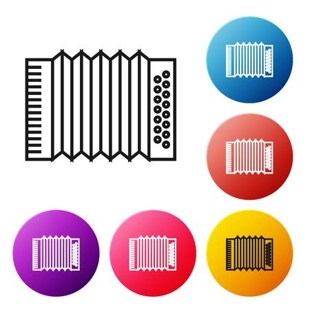 Black line Musical instrument accordion icon isolated on white background. Classical bayan, harmonic. Set icons colorful circle buttons. Vector Illustration Foto de archivo - 134519713