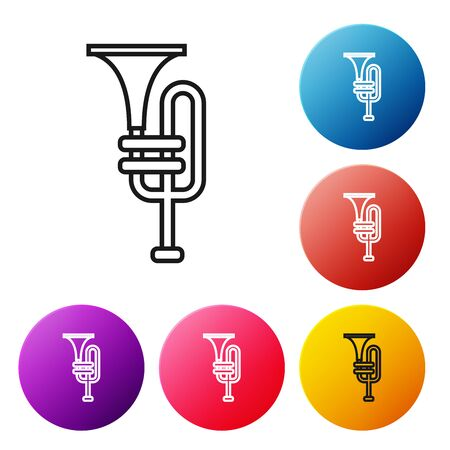 Black line Musical instrument trumpet icon isolated on white background. Set icons colorful circle buttons. Vector Illustration