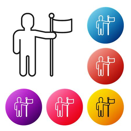 Black line Man holding flag icon isolated on white background. Set icons colorful circle buttons. Vector Illustration  イラスト・ベクター素材