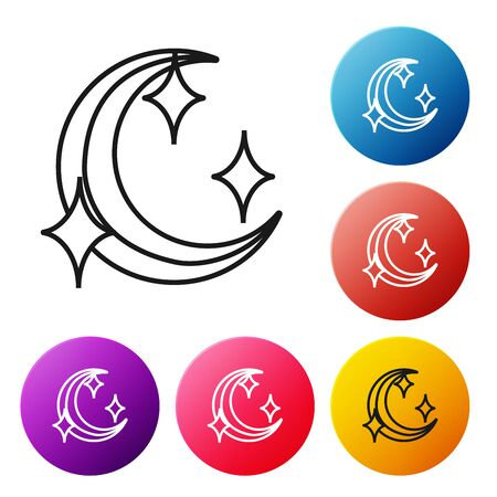 Black line Moon and stars icon isolated on white background. Set icons colorful circle buttons. Vector Illustration