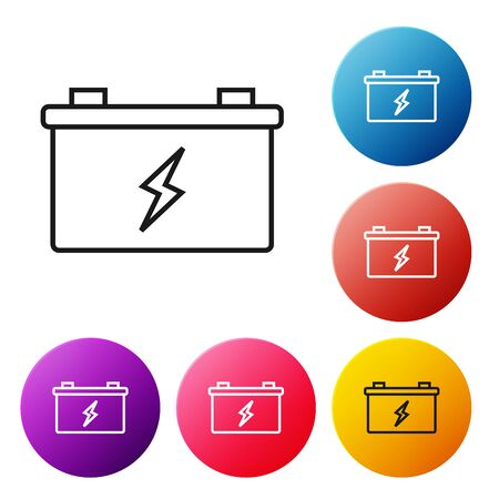 Black line Car battery icon isolated on white background. Accumulator battery energy power and electricity accumulator battery. Set icons colorful circle buttons. Vector Illustration