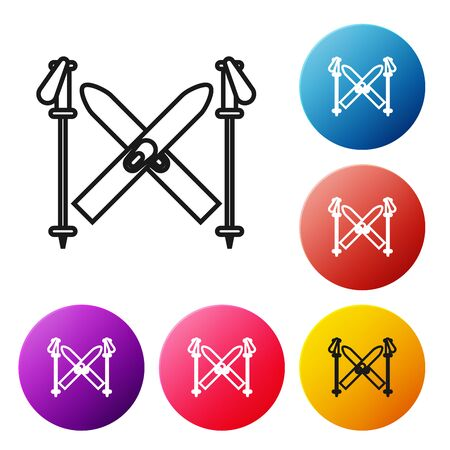 Black line Ski and sticks icon isolated on white background. Extreme sport. Skiing equipment. Winter sports icon. Set icons colorful circle buttons. Vector Illustration