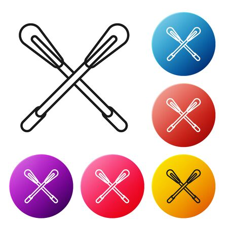 Black line Crossed paddle icon isolated on white background. Paddle boat oars. Set icons colorful circle buttons. Vector Illustration