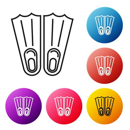 Black line Rubber flippers for swimming icon isolated on white background. Diving equipment. Extreme sport. Sport equipment. Set icons colorful circle buttons. Vector Illustration