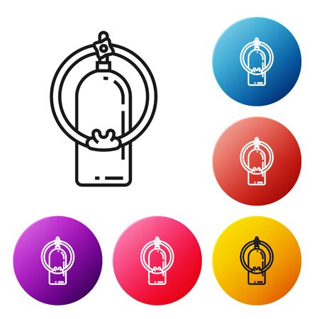 Black line Aqualung icon isolated on white background. Oxygen tank for diver. Diving equipment. Extreme sport. Sport equipment. Set icons colorful circle buttons. Vector Illustration