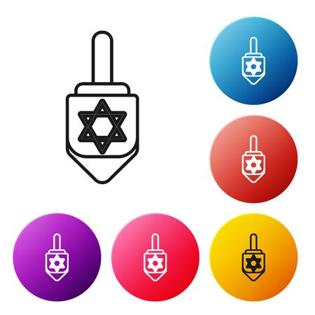 Black line Hanukkah dreidel icon isolated on white background. Set icons colorful circle buttons. Vector Illustration