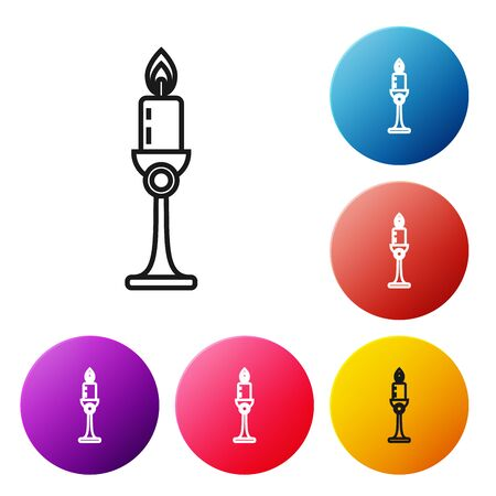 Black line Burning candle in candlestick icon on white background. Old fashioned lit candle. Cylindrical candle stick with burning flame. Set icons colorful circle buttons. Vector Illustration