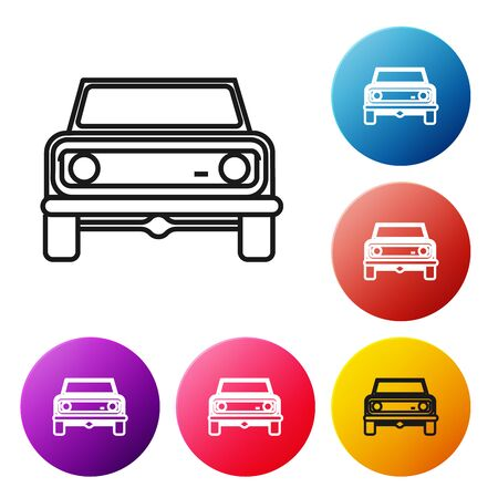Black line Off road car icon isolated on white background.  Set icons colorful circle buttons. Vector Illustration