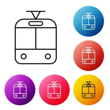Black line Tram and railway icon isolated on white background. Public transportation symbol. Set icons colorful circle buttons. Vector Illustration