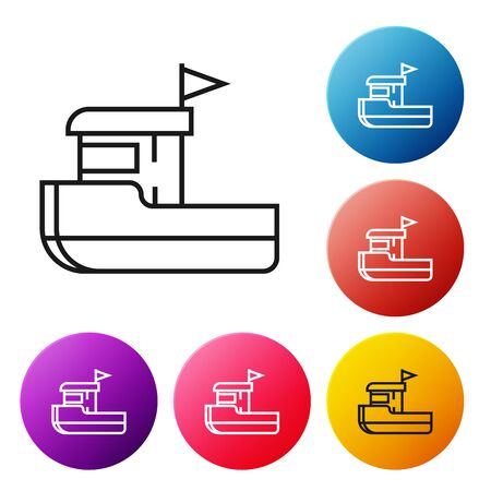 Black line Fishing boat icon isolated on white background. Set icons colorful circle buttons. Vector Illustration