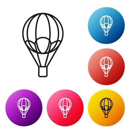 Black line Hot air balloon icon isolated on white background. Air transport for travel. Set icons colorful circle buttons. Vector Illustration