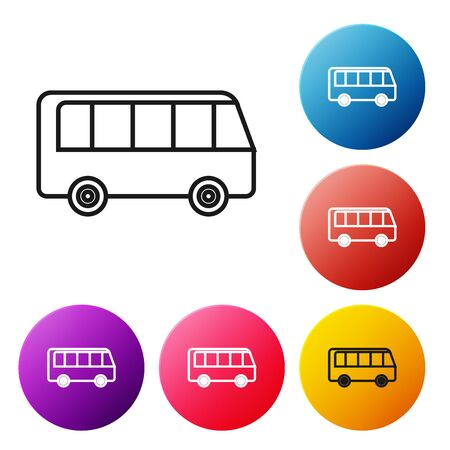 Black line Bus icon isolated on white background. Transportation concept. Bus tour transport sign. Tourism or public vehicle symbol. Set icons colorful circle buttons. Vector Illustration