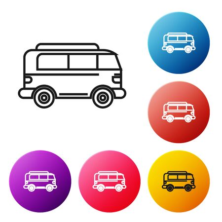 Black line Retro minivan icon isolated on white background. Old retro classic traveling van. Set icons colorful circle buttons. Vector Illustration Illustration