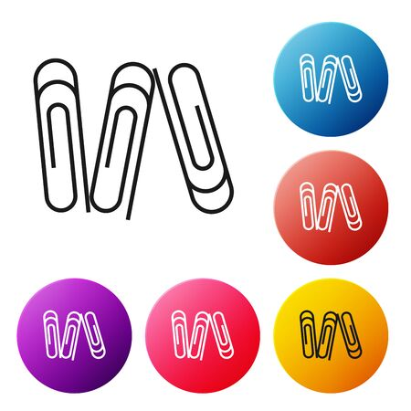 Black line Paper clip icon isolated on white background. Set icons colorful circle buttons. Vector Illustration