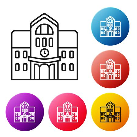 Black line School building icon isolated on white background. Set icons colorful circle buttons. Vector Illustration