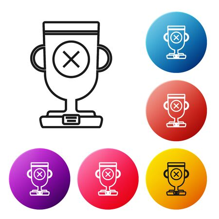 Black line Award cup icon isolated on white background. Winner trophy symbol. Championship or competition trophy. Sports achievement sign. Set icons colorful circle buttons. Vector Illustration