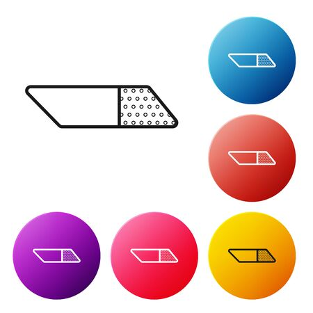 Black line Eraser or rubber icon isolated on white background. Set icons colorful circle buttons. Vector Illustration