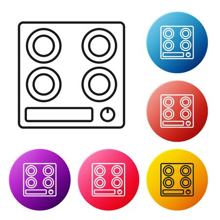 Black line Gas stove icon isolated on white background. Cooktop sign. Hob with four circle burners. Set icons colorful circle buttons. Vector Illustration Foto de archivo - 134503387