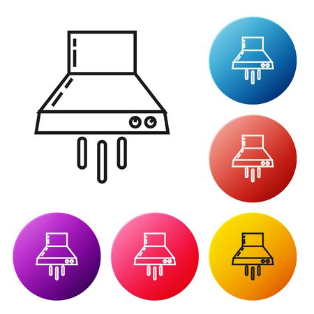 Black line Kitchen extractor fan icon isolated on white background. Cooker hood. Kitchen exhaust. Household appliance. Set icons colorful circle buttons. Vector Illustration