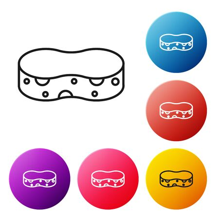 Black line Sponge icon isolated on white background. Wisp of bast for washing dishes. Cleaning service concept. Set icons colorful circle buttons. Vector Illustration